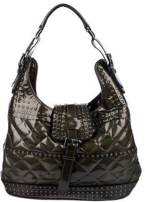 Burberry Studded Patent Brook Hobo