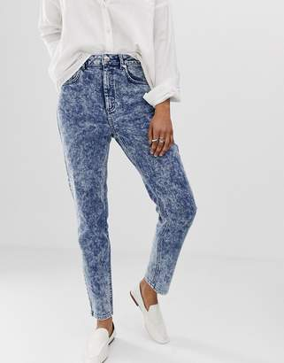 36ec084008 Asos Design DESIGN Recycled Farleigh high waisted slim mom jeans in bright  blue acid wash