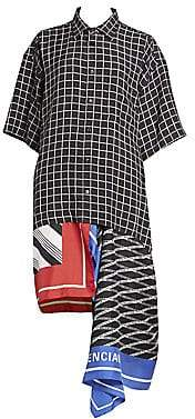 Balenciaga Women's Mixed Scarf-Print Shirtdress