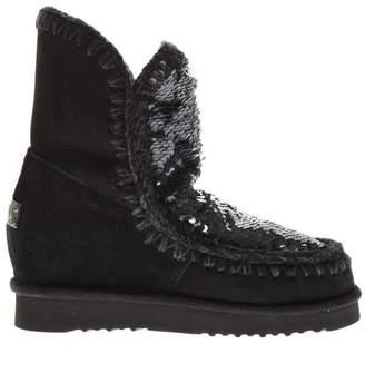 Mou Eskimo Black Suede Sequins Boots
