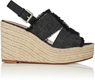 Barneys New York Women's Denim Platform-Wedge Espadrille Sandals $275 thestylecure.com