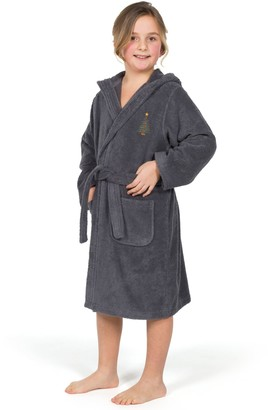 Linum Home Textiles Kids Terry Bathrobe w/ Embroidered Christmas Tree