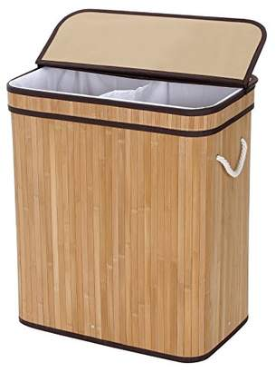 Laundry by Shelli Segal SONGMICS Divided Laundry Hamper Two-section Basket Double Dirty Clothes Storage Sorter with Lid Handles and Removable Liner Natural Bamboo Color ULCB64Y