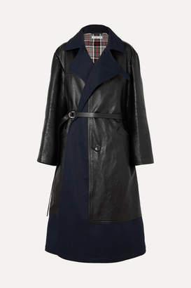Balenciaga Paneled Leather And Cotton-blend Gabardine Coat - Black