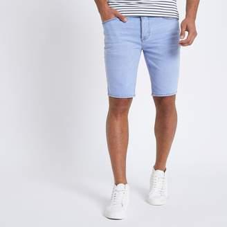 River Island Mens Light Blue denim skinny fit shorts