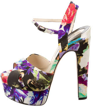 Brian Atwood Floral Platform Sandals $195 thestylecure.com