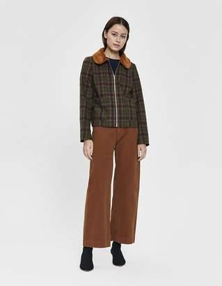 Stelen Caden Faux Fur Collar Plaid Jacket
