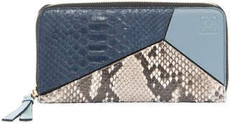 Loewe Puzzle Snakeskin & Leather Zip Wallet, Blue