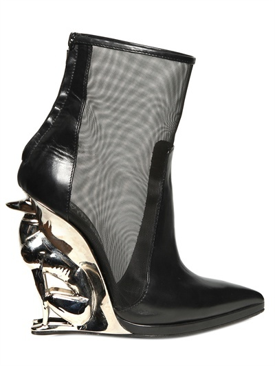 Alain Quilici For David Koma 130mm Greyhound Net Leather Boots