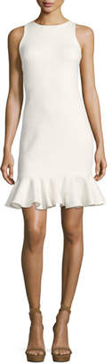Halston Sleeveless High-Neck Fitted Shimmer Cocktail Dress