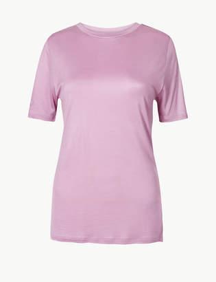 Marks and Spencer Round Neck Mercerised Short Sleeve T-Shirt