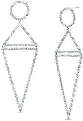 Zales Vera Wang Love Collection 1-1/2 CT. T.W. Diamond Circle and Triangle Elongated Drop Earrings in 14K White Gold