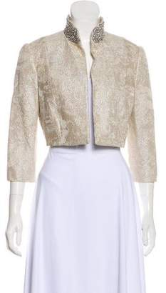 Carmen Marc Valvo Embroidered & Embellished Cropped Evening Jacket