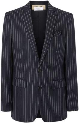 English Fit Pinstriped Wool Tailored Jacket