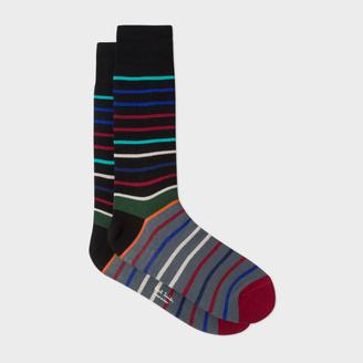 Men's Black And Grey Echo-Stripe Socks $30 thestylecure.com