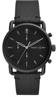 Fossil Commuter Stainless Steel Leather-Strap Chronograph Watch
