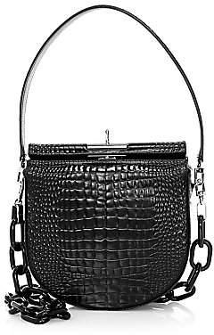 GU DE Women's Demi Lune Croc-Embossed Leather Mini Crossbody Bag