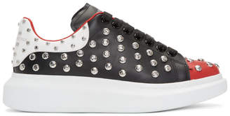 Alexander McQueen Black and Red Studded Oversized Sneakers