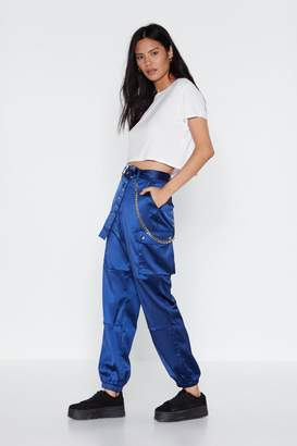 Nasty Gal Got to Cargo Belted Satin Pants