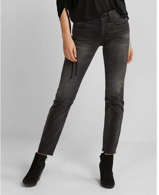Express mid rise gray raw hem stretch straight leg jeans