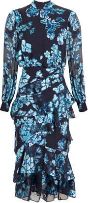 Saloni Isla Ruffle Midi Dress