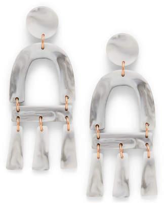 Fossil Marble-Inspired Acetate Chandelier Earrings