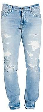 Dolce & Gabbana Men's Distressed Straight-Leg Jeans