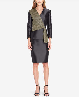 Tahari ASL Metallic Asymmetrical Skirt Suit