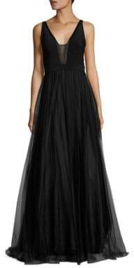 Aidan Mattox Deep Illusion V-Neck Tulle Gown