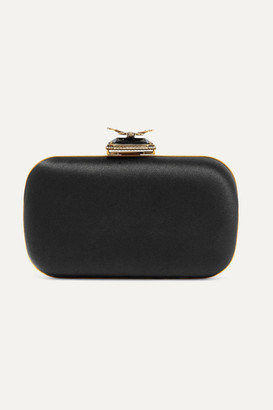 Alexander McQueen Butterfly Embellished Satin Clutch - Black