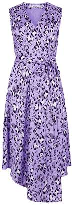 Gestuz Lilac Leopard-print Crepe Wrap Dress