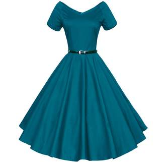 BEIGE Shengdilu Women's Vintage 1950s Floral Lace Flare A-Line Dresses Shirtwaist Swing Skaters Evening Tea Dress S