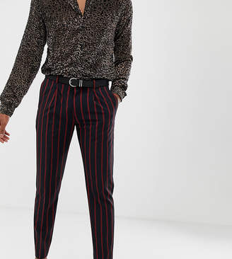 Heart N Dagger slim fit cropped pleated smart trouser in navy and red stripe