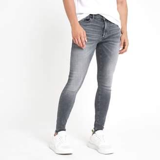 River Island Mens Grey Ollie skinny stretch spray on jeans