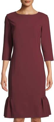 Oscar de la Renta 3/4-Sleeve Bateau Neck Flounce-Hem Dress