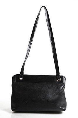 Bottega VenetaBottega Veneta Black Embossed Leather Medium Shoulder Handbag