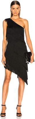 Norma Kamali for FWRD Fringe One Shoulder Dress