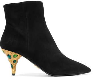 Prada Crystal-embellished Suede Ankle Boots - Black