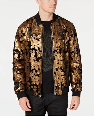 INC International Concepts I.n.c. Men's Floral Velvet Sequin Bomber