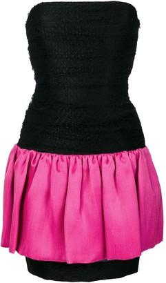 Saint Laurent Pre-Owned strapless color block dress