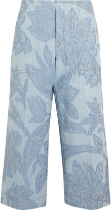 Texel Cropped Embroidered Denim Wide-leg Pants - Light blue