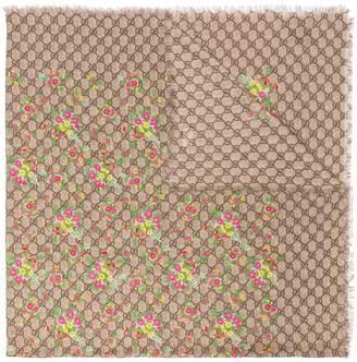 Gucci GG floral silk shawl