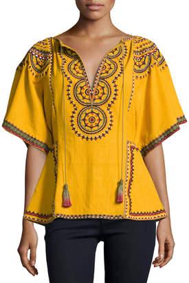 Neiman Marcus Talitha Collection Anaya Embroidered Cotton Kimono-Sleeve Top, Marigold