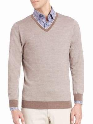 Birdseye Merino Wool V-Neck Sweater