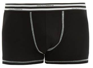 Striped Jacquard Logo Cotton Blend Boxer Briefs - Mens - Black