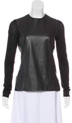 Helmut Lang Leather Long Sleeve Top Black Leather Long Sleeve Top