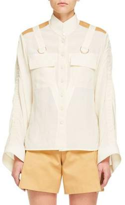 Chloé Long-Sleeve Contrast-Shoulder Button-Front Safari Blouse