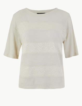 Marks and Spencer PETITE Lace Round Neck Short Sleeve T-Shirt