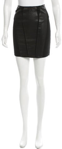 Helmut Lang Helmut Lang Leather-Paneled Mini Skirt