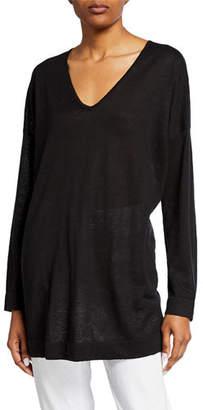 Eileen Fisher Petite V-Neck Long-Sleeve Organic Linen/Cotton Tunic Sweater